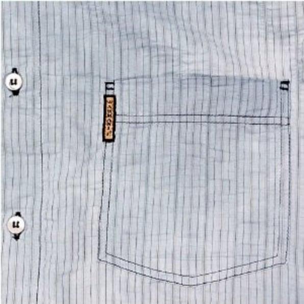 ARMANI JEANS Washed Blue Pinstriped Regular Fit Long Sleeve Vintage Finish Shirt