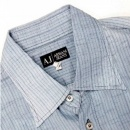 ARMANI JEANS Washed Blue Pinstriped Regular Fit Long Sleeve Vintage Finish Shirt