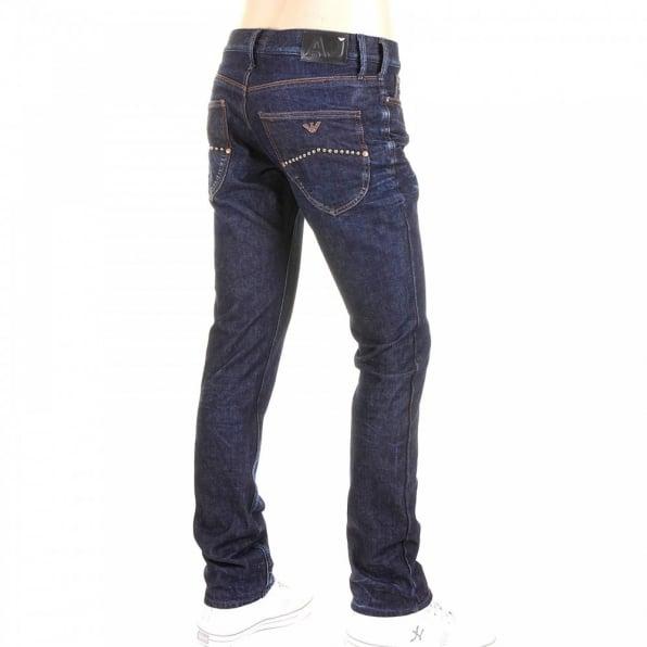 ARMANI JEANS Washed Dark Indigo Extra Slim Fit Low Waist Tight Leg Button Fly Denim Jeans