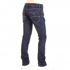 Washed Dark Indigo Extra Slim Fit Low Waist Tight Leg Button Fly Denim Jeans