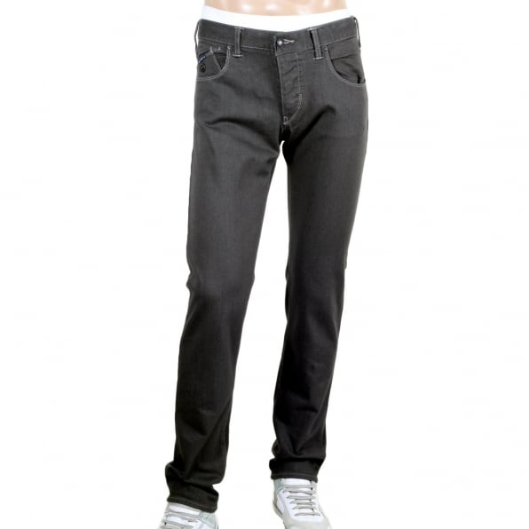 ARMANI JEANS Washed Grey Comfort Fabric J20 Extra Slim Fit Low Waist Tight Leg Button Fly Jeans for Men
