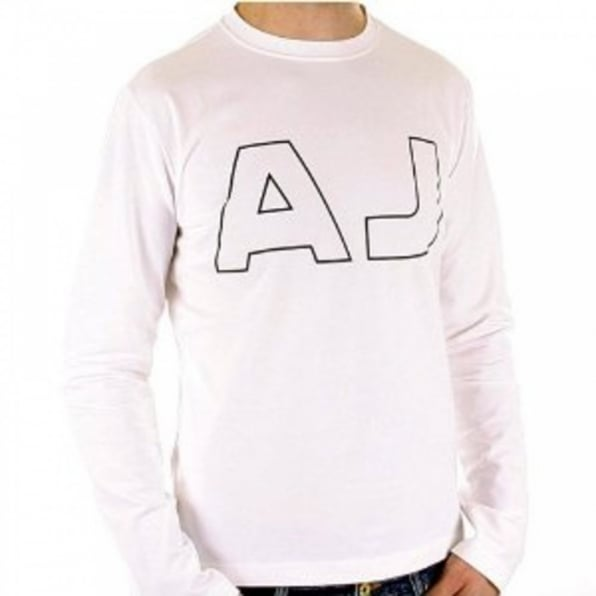 ARMANI JEANS White Crew Neck Slim Fit Long Sleeve T Shirt