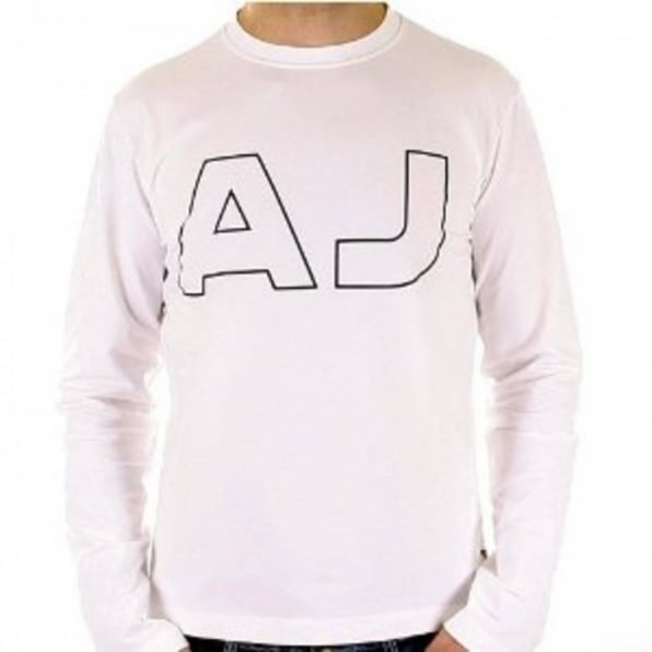 ARMANI JEANS White Crew Neck Slim Fit Long Sleeve T Shirt
