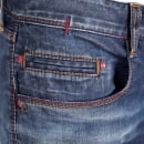ARMANI JEANS Worn Finished Heavily Faded Extra Slim J35 Washed Denim Jeans with Styled Creasing and A Repair Patch