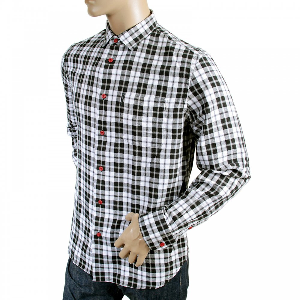Comfortable black and white check shirt by armani jeans for Black and white checker shirt