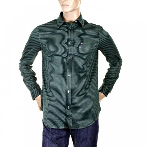 ARMANI JEANS Woven Green and Navy Striped Cotton Mix Long Sleeve Regular Fit Shirt