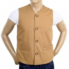 Biscuit Cotton Vintage Cut Regular Fit Lightly Padded Waistcoat