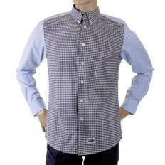 Black and Blue Button Down Collar Long Sleeve Regular Fit Shirt