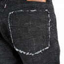 RMC JEANS Black Denim Shorts for Men with Black Embroidered Tsunami Waves
