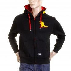 Black Godzilla Hooded Zipped Regular Fit Sweatshirt