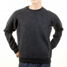 Black Large Fitting Crew Neck Sweat Shirt for Men
