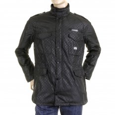 Black Self Patterned Fully Functional Regular Fit Field Jacket for Men