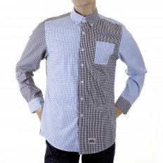 Blue and Black Button down Collar Long Sleeve Regular Fit Shirt