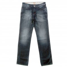 Blue regular fit vintage denim dark wash jean