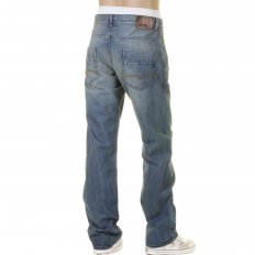 Comfort Fit Stonewashed Regular Rise Worn Finish Blue Denim Jeans