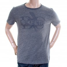 Denim Blue Marl Regular Fit Cotton T Shirt with Bo Fame Print