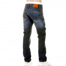 Mens Blue Regular Fit Heavy Dark Denim Jean