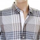 HUGO BOSS ORANGE Mens ClffE Sand Check Long Sleeve Shirt