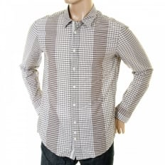 Mens Long Sleeve Putty Cliff Check Shirt