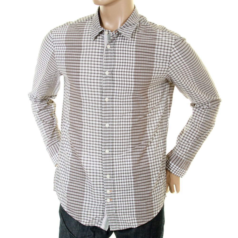 Shop Now Boss Orange Grey Putty Check Shirt For A