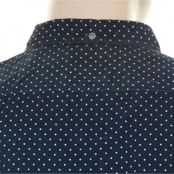 HUGO BOSS ORANGE Mens Navy Polka Dot Baby Cord Equator Shirt
