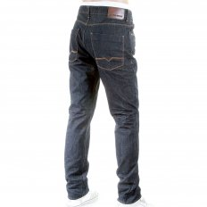 Mens Slim Fit Washed Creased Finish Dark Denim Jeans