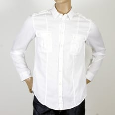 White Cotton Slim Fit Kent Collar Long Sleeve Shirt