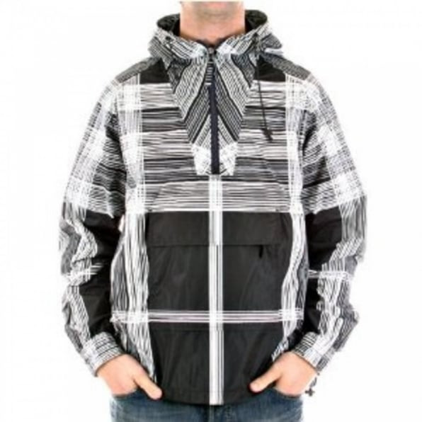 BURBERRY LONDON Hooded Navy Printed Grey/White Striped Jacket