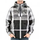 Hooded Navy Printed Grey/White Striped Jacket
