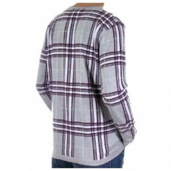 BURBERRY LONDON Light Grey Fine Knitwear with Black, White and Red Checks