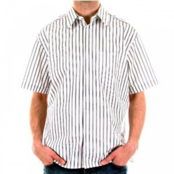 BURBERRY LONDON White with Black and Grey Stripes Short Sleeved Regular Fit Shirt