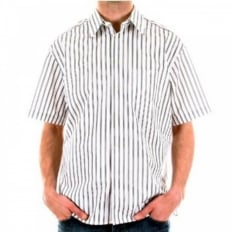 White with Black and Grey Stripes Short Sleeved Regular Fit Shirt