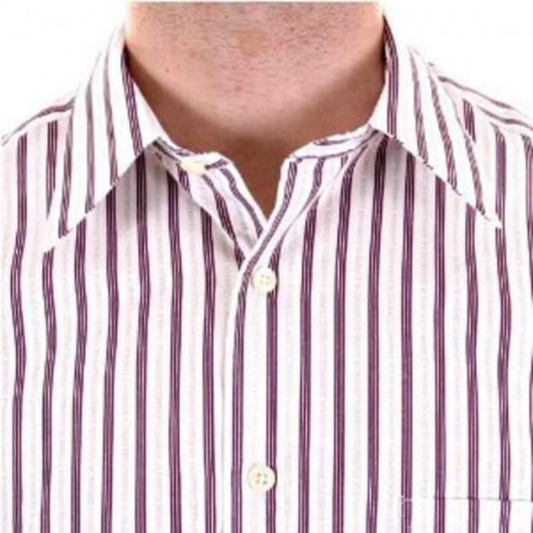 BURBERRY LONDON White with Plum and Grey Stripes Short Sleeved Shirt