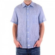 Blue and White Vertical Striped Short Sleeve Shirt