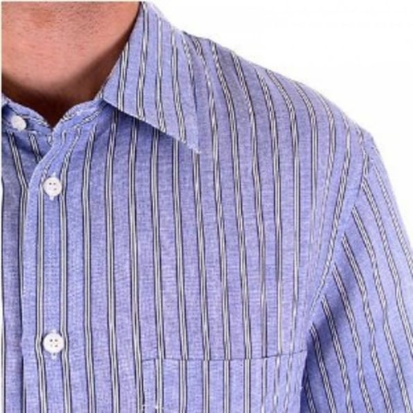 C.P. COMPANY Blue and White Vertical Striped Short Sleeve Shirt