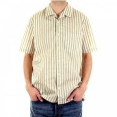 Light Khaki and White Striped Short Sleeve Shirt