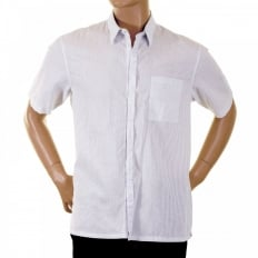 Mens Short Sleeve White and Grey Stripe Shirt