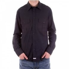 Washed Navy Long Sleeve Shirt