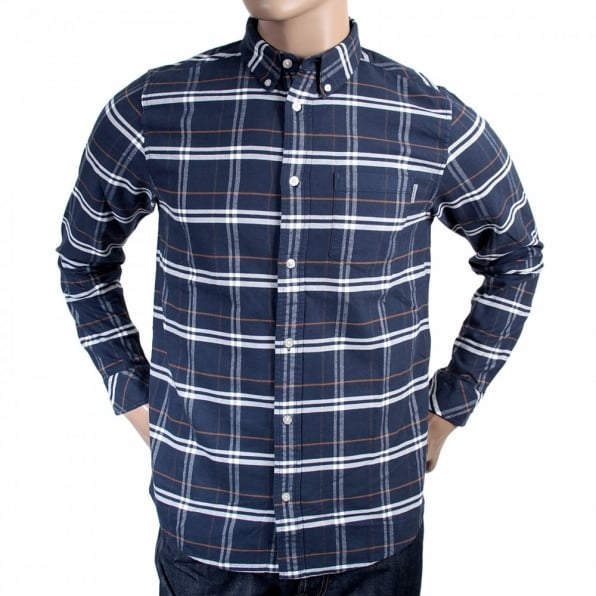 Blue Check Douglas Brushed Cotton Long Sleeve Regular Fit Shirt