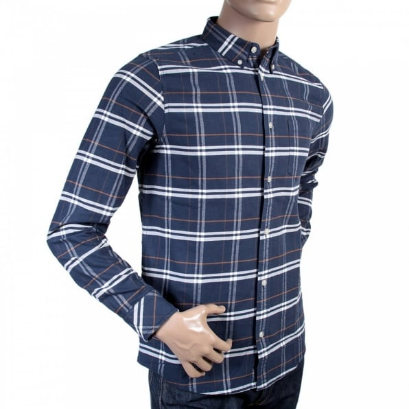 CARHARTT Blue Check Douglas Brushed Cotton Long Sleeve Regular Fit Shirt