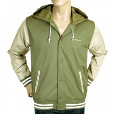 Bog Green and Stone Beige Hooded Regular Fit Robson Jacket