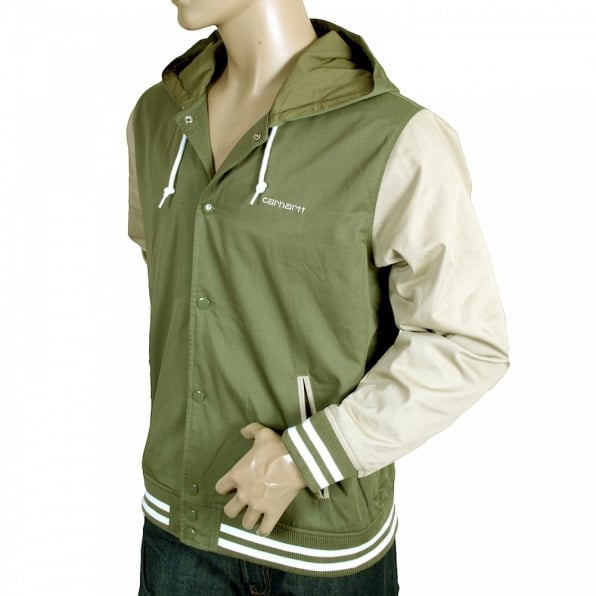CARHARTT Bog Green and Stone Beige Hooded Regular Fit Robson Jacket