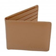 Brown Leather Bill Fold and Credit Card Wallet with ID