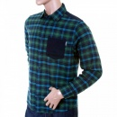 CARHARTT Caribbean Leek Checked Cotton Long Sleeve Regular Fit Shirt