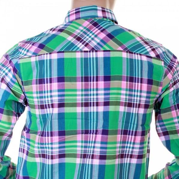 CARHARTT Caribbean Light Wash Cotton Long Sleeve Big Check Regular Fit Shirt