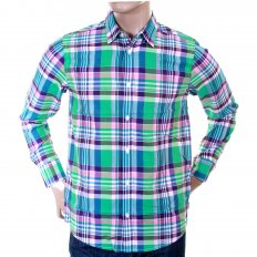 Caribbean Light Wash Cotton Long Sleeve Big Check Regular Fit Shirt