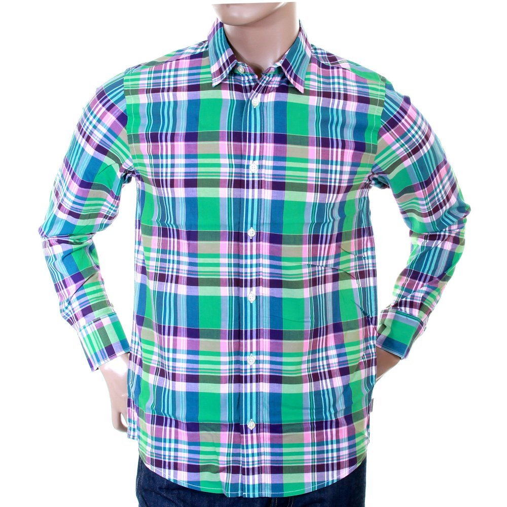 Carhartt long sleeve shirts for men with green checks for Carhartt men s long sleeve lightweight cotton shirt