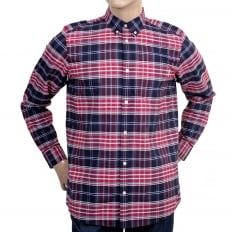 Casual Cotton Regular Fit Cornel Lavitt Check Shirt in Red and Navy with Button Down Collar and Chest Pocket