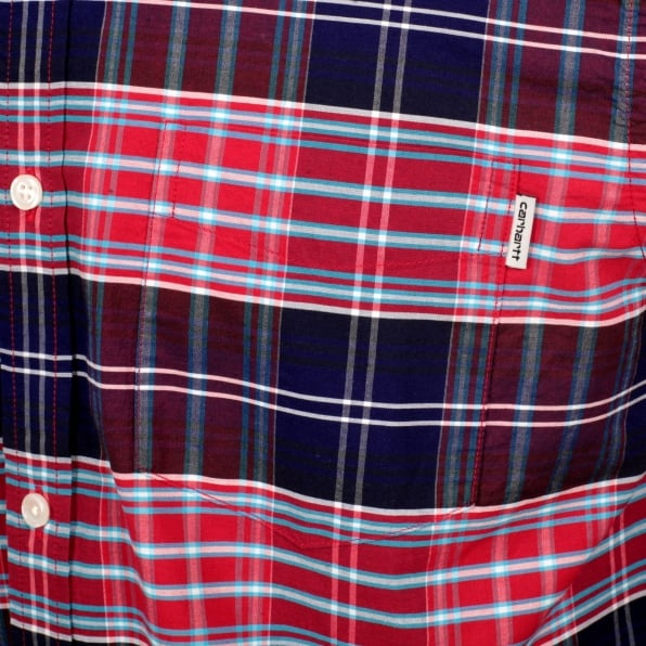 CARHARTT Casual Cotton Regular Fit Cornel Lavitt Check Shirt in Red and Navy with Button Down Collar and Chest Pocket