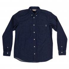 Civil Blue Rinsed Mens Cotton Long Sleeve Button Down Collar Slim Fit Shirt